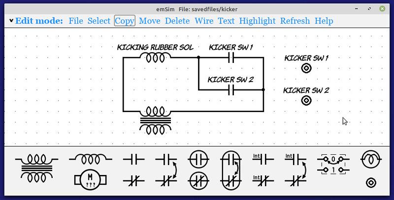 emSim circuit schematic editing window