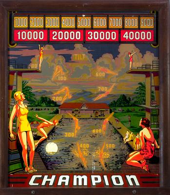 1939 Bally Champion Illuminated Backglass