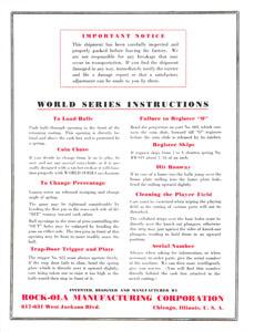 World's Series Instructions